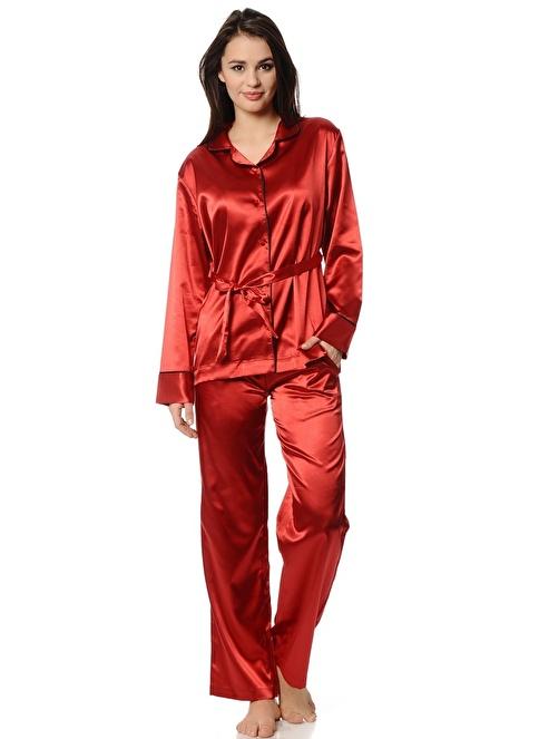 Magic Form Saten Kumaşlı Erkek Modelli Takım Pijama Bordo